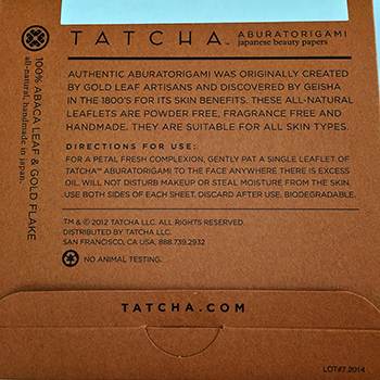 Tatcha Oil Blotting Papers Back